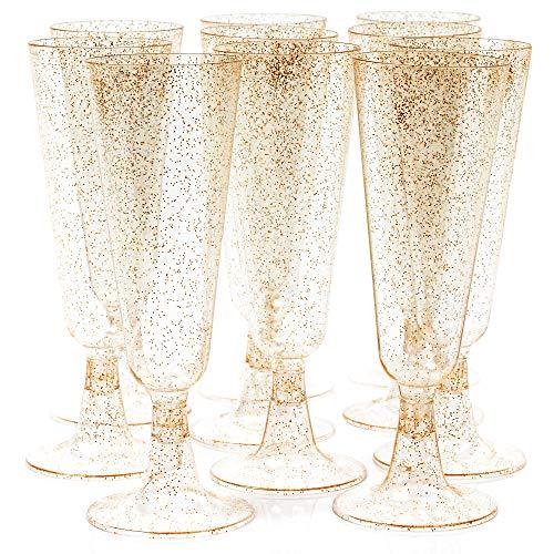 50 Flute da Champagne Plastica Eleganti, 150 ml con Glitter Dorati Pratici e Resistenti - Monouso Riutilizzabile Riciclabile - Bicchieri Prosecco per Feste, Matrimoni, Party, Natale, Capodanno