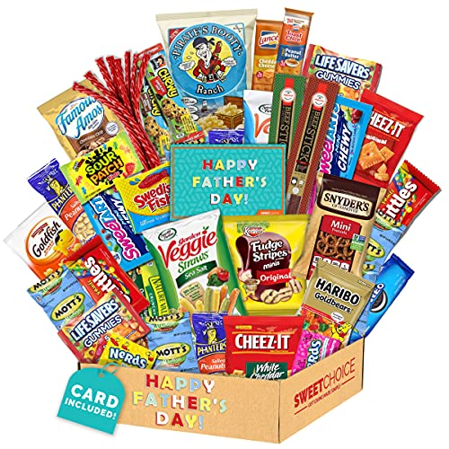 Fathers Day Gift Basket Gift For Dad Care Package (50 Count)Ultimate Men's box Sampler Bars,Beef Jerkey, Cookies, Chips, Candy Snacks Variety Box Pack Office Friends Family Military Treats