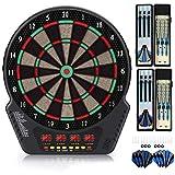 "Biange Electronic Dart Board, Dartboard Set 13.5"" Target Area Digital Soft Tip Dartboards 27 Games and 243 Variants with 6 18g Darts, 4 LED Displays, Spare Tips, Flights Support up to 16 Players"