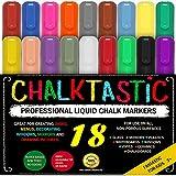 CHALK MARKERS & Pens - By Fantastic ChalkTastic MEGA 18 Pack BEST for Kids, Menu Board Bistro Boards - Glass & Window Erasable Marker Pen - Reversible 6mm Tip, Neon & Earth Colors, Gold & Silver