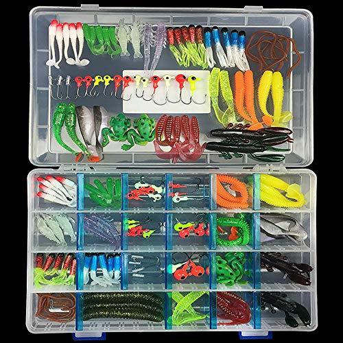 SKYSPER Set da Pesca, 146PCS Kit Esche Artificiali Esche Morbide con Ami Accessori Pesca