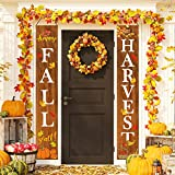 Whaline Fall Harvest Hanging Banner, Fall Porch Sign Autumn Pumpkin Maple Leaf Backdrop Flag for Home Yard Indoor Outdoor Wall Door Thanksgiving Party Decorations, 12 x 72 Inch