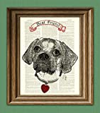 Puggle Pug and Beagle Mix Dog Beautifully Upcycled Vintage Dictionary Page Best Friend Book Art Print