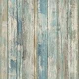Papier Adhesif pour Meuble Bois Bleu 45cm x 2m Papier Peint Mural Style Moderne...
