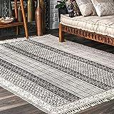 nuLOOM Striped Flatweave Native Area Rug, 7' 6' x 9' 6', Grey