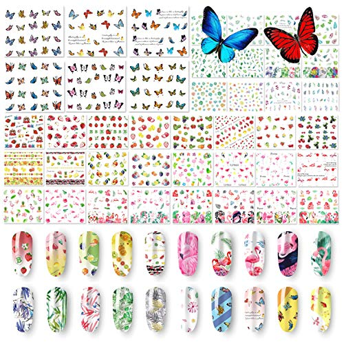 48 Sheets Summer Nail Art Stickers - Water Transfer Butterflies Flamingo Fruits Flowers Leaves StencilDecals for Women Kids Manicure DIY or Salon (1500+Pcs)