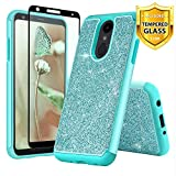 TJS Phone Case for LG K40/LG K12 Plus/LG X4/LG Solo LTE/LG Harmony 3/LG Xpression Plus 2, with [Full Coverage Tempered Glass Screen Protector] Glitter Bling Cute Girls Women Heavy Duty Hybrid (Teal)
