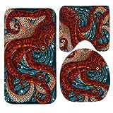 SSOIU 3 Piece Bath Mat Set Octopus in the Oceans Non-Slip Bathroom Mats Contour Toilet Cover Rug
