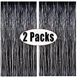 FECEDY 2pcs 3ft x 8.3ft Black Metallic Tinsel Foil Fringe Curtains Photo Booth Props for Birthday Wedding Engagement Bridal Shower Baby Shower Bachelorette Holiday Celebration Party Decorations