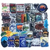 Homyu Stickers Pack 51-Pcs Decals of Fishing Bumper Stickers Decals for Cars Motorcycle Portable Luggages Ipad Laptops Waterproof Sunlight-Proof