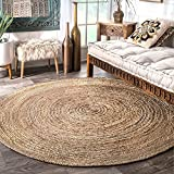 Fernish Décor Handwoven Jute Area Rug, Natural Yarn, Rustic Vintage Braided Reversible Rug, Eco Friendly (4 Feet, Round)