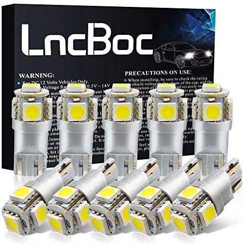 LncBoc Lampade W5W LED T10 194 168 5SMD 5050 12V 6000K Bianco Super Luminoso Per Luci Targa LED Auto...