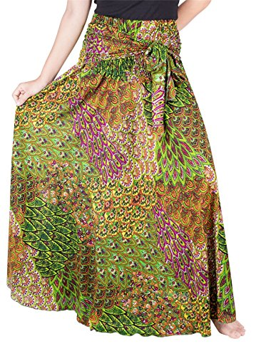 LOFBAZ Long Maxi Skirts for Women Boho Gypsy Dress Bohemian Hippie Dresses African Clothing Womens Indian Wrap Skirt Design #5 Light Green OS