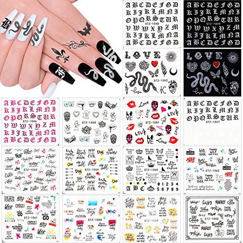 Kalolary 16Pcs Hot Snake Nail Sticker Water Transfer Butterfly Snake Python Letter Words Old English Alphabet Nail Design Decals Street Fashion Python Retro Cool Halloween Nail Stickers Nail Decor