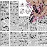 12 Piezas Nail Art Stickers Calcomanías, EBANKU Hojas en Blanco y Negro Patrón 3D Uñas Art Pegatinas Autoadhesiva Decorativas para Niñas...