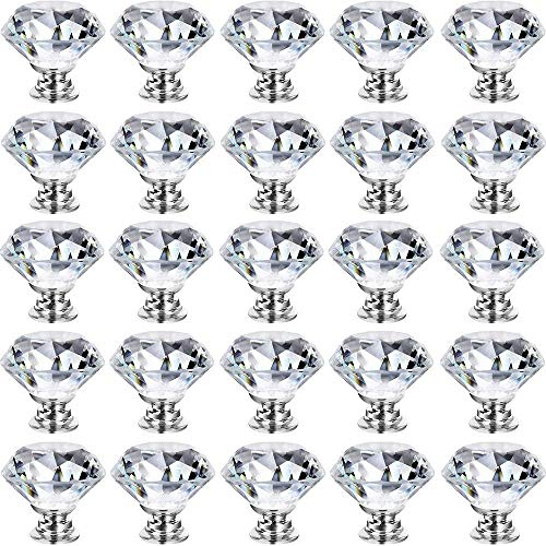 GoodtoU 25 Pack Dresser Crystal Knobs 30MM Glass Crystal Drawer Knobs Pulls Cabinet Handle Hardware