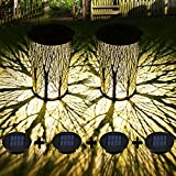 Solar Lanterns Outdoor Waterproof, Kwaiffeo 2 Pack Solar Lanterns with 4 Solar Panels(2 Spare) for Garden Decor, Outdoor Solar Lights for Halloween Christmas Decoration Patio Yard , Solar Table Lamp