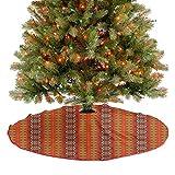 Homesonne Adornos para árbol de Navidad, diseño cultural indígena, bordes tradicionales, decoraciones de fiesta de Navidad, hermosa adición destacada naranja, amarillo y blanco 122 cm