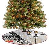 Homesonne Falda de árbol de Navidad grande con faroles de estilo de vida europeo, decoración de Navidad para fiestas de Navidad, color rojo, negro, amarillo, 76,2 cm