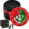 """PILOTDIARY Herb Grinder Aluminum 4 Piece Spice Grinder with Pollen Catcher Color Painting 2"""", Red"""