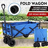 "Collapsible Outdoor Utility Wagon, Heavy Duty Folding Garden Portable Hand Cart, with 8"" All-Terrain Wheels and Drink Holder, Adjustable Handles and Double Fabric, for Beach, Garden, Sports (Blue)"