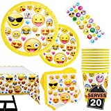81 Piece Emoji Birthday Party Supplies - Including Custom Plates, Cups, Napkins, and Tablecloth, Serves 20