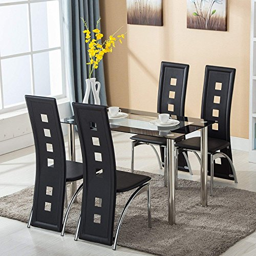 Mecor Dining Room Table Set, 5 Piece Glass Kitchen Table and Leather Chairs Kitchen Furniture(Black)