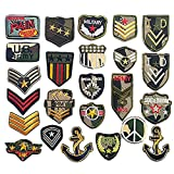 Libiline 24pcs Soldier Badges Kid Embroidered Patch Sew On/Iron On Patch Applique Clothes Dress Plant Hat Jeans Sewing Flowers Applique DIY Accessory (Soldier Badges)