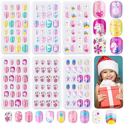 144 Pieces Girls Press on Nails Kids, Thrilez Children Fake Nails Artificial False Nail Tips Pre Glue Full Cover Short Acrylic Nails for Girls Kids Nail Art Decoration (Rainbow Sky)