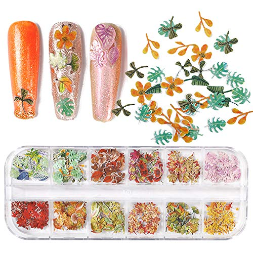 Fall Nail Art Sticker Fall Nail Decals Leave Flower Mixed Color Wood Pulp Nail Art Supplies 12 Fall Nail Glitter Design Maple Ginkgo Flower Retro Nail Stickers For Acrylic Nails