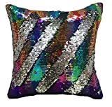 Magstonee 16'x16' Mermaid Pillow Case with magic mermaid sequin, Reversible Cushion Covers Sequins Dorm Room Decor for Sofa Comfy (Multi + Silver)