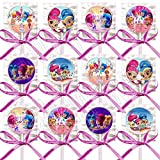 Shimmer and Shine Party Favors Supplies Decorations Lollipops w/ Hot Pink Bows Favors -12 pcs Nick Jr. Nickelodeon