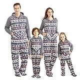IFFEI Matching Family Footed Pajamas Hoodie Sleeper Christmas PJ's Festival Snowflake Plush Cozy Warm Onesie 2 Years