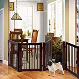 PETSJOY 30'H Pet Gate with Walk Through Door, Indoor/Outdoor Baby Gate, Wooden Pet Playpen, Folding Adjustable Panel Safety Gate for Corridor, Doorway, Stairs, Extra Wide, Cerise Finish, 80'' W