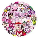 YMSD Lindo rosa Doodle pegatinas para equipaje, coche, ordenador, monopatín, impermeable, 50 unidades