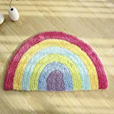 Rainbow Doormat, Non Slip Doormat Indoor Outdoor Rainbow Rug, Long Lasting Colorful Super Soft Warm Cotton Luxury Plush Mat Semicircle 19.7' X 31.5'