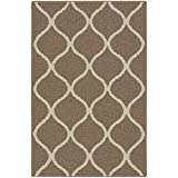 Maples Rugs Rebecca Contemporary Kitchen Rugs Non Skid Accent Area Carpet [Made in USA], 2'6 x 3'10, Café Brown/White