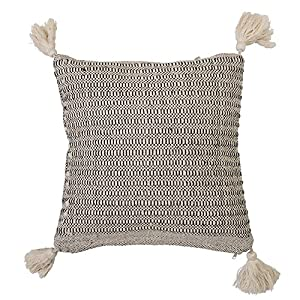 """Amazing thick corner tassels Made with soft cotton Spot clean only Eye-catching pillow is 18""""L x 3""""W x 18""""H"""