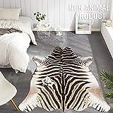 jinchan Zebra Print Area Rug Faux Skin Cowhide Animal Design Mat Safari Rug Indoor floorcover for Bedroom Living Room 5'1' x 6'3' Black