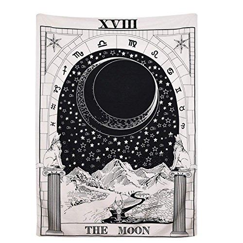 MartenEx Tapiz de 'Tarot' de Amknn con imagen de la luna, las estrellas y el sol para colgar en la pared 150x100cm La luna