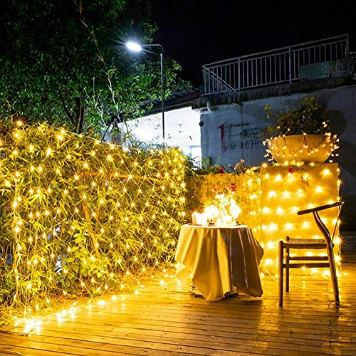 SurSynch LED Net Lights 8 Modes Low Voltage Connectable 6.6ft x 9.8ft LED Net Mesh Light, Fairy String Lights with...