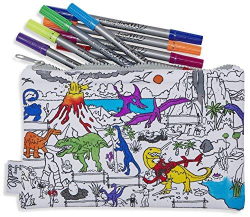 Astuccio colorabile in cotone con dinosauri disegnati, con pennarelli lavabili; per colorare e...