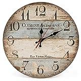 LOHAS Home 30cm Vintage Horloge Murale Rustique, silencieuse en Bois Cadran...