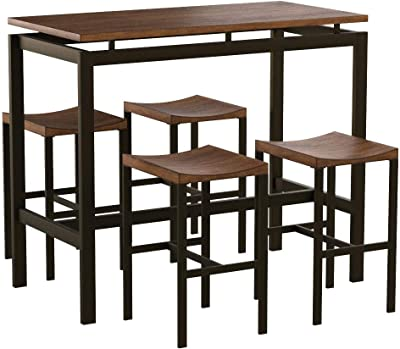 Amazon Com Atlus 5 Piece Counter Height Dining Set Black And Brown Furniture Decor