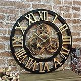 HBWJSH Silencieux 3D Style européen rétro créatif Horloge Murale Industrielle engrenage Art personnalité Salon décoration Horloge (Taille : 24 inches)