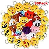 Dreampark Emoji Keychains, Mini Emoji Plush Party Favors for Kids Christmas Birthday Party Supplies, Carnival Prizes for Kids Treasure Box Bulk Toy Assortment 2' Set of 30