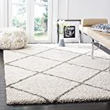 Safavieh Hudson Shag Collection SGH281A Diamond Trellis 2-inch Thick Area Rug, 7' Square, Ivory/Grey
