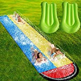 Lawn Water Slides for Kids Adults - Garden Backyard Giant Racing Lanes and Splash Pool, Outdoor...