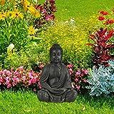 Relaxdays Buddha Figur sitzend, XL 70 cm, Gartenfigur, Dekofigur Wohnzimmer, Keramik, wetterfest, frostsicher, dunkelgrau - 3
