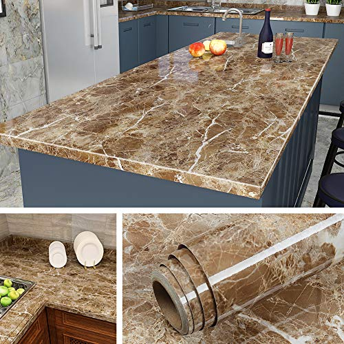Livelynine 197x24 Inch Granite Contact Paper for Kitchen Countertop Peel and Stick Marble Wallpaper Granite Paper...